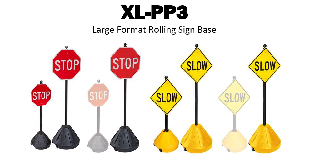 """Picture of Portable Pole 3 - Plastic Sign Base and 72"""" Post"""