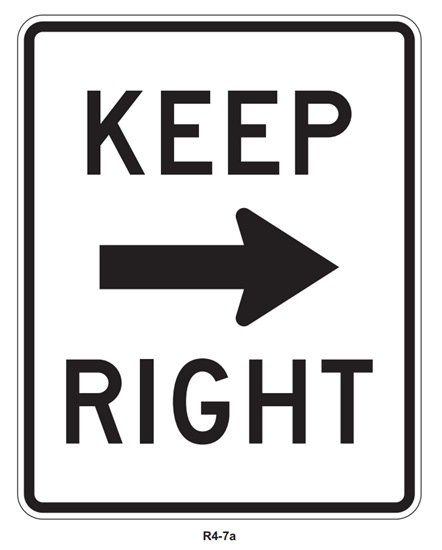"""Picture of 18""""x24"""" Keep Right with Arrow"""