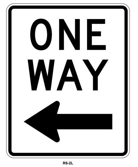 """Picture of 24""""x30"""" One Way with Left Arrow"""