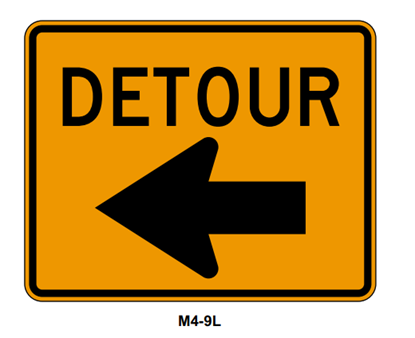 "Picture of 24""x18"" Detour with Left Arrow"