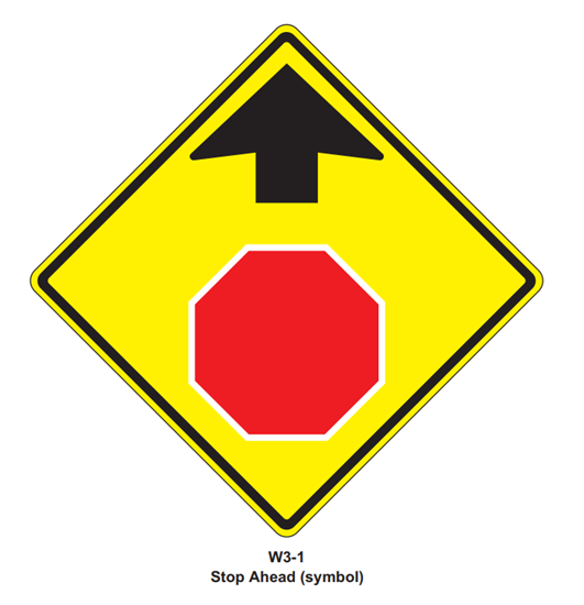 """Picture of 30""""x30"""" Stop Ahead Symbol"""