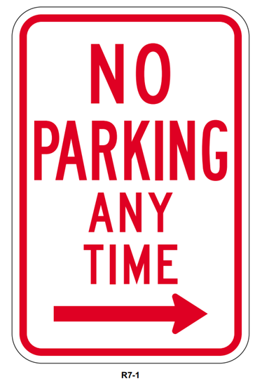 Picture of No parking any time with right arrow