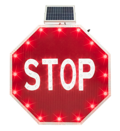 """Picture of Solar Powered Flashing Stop Sign - 30"""" EGP"""