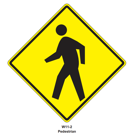 """Picture of 30"""" W11-2 Pedestrian Crossing"""