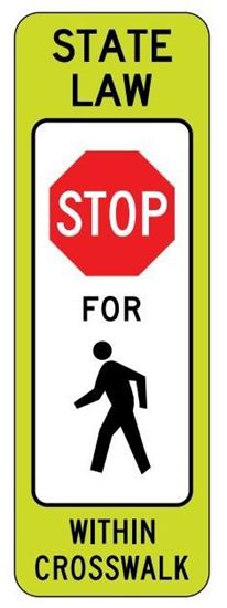 """Picture of 12""""x 36"""" R1-6A Stop For Pedestrian Crossing"""