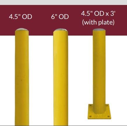 """Picture of Steel Bollard - 4"""" OD x 3' with Install Plate"""