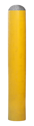 """Picture of Steel Bollard - 84"""" x 6"""" Yellow Powder Coated Concrete Filled"""